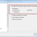 Set source view as default view for Web Pages in Visual Studio