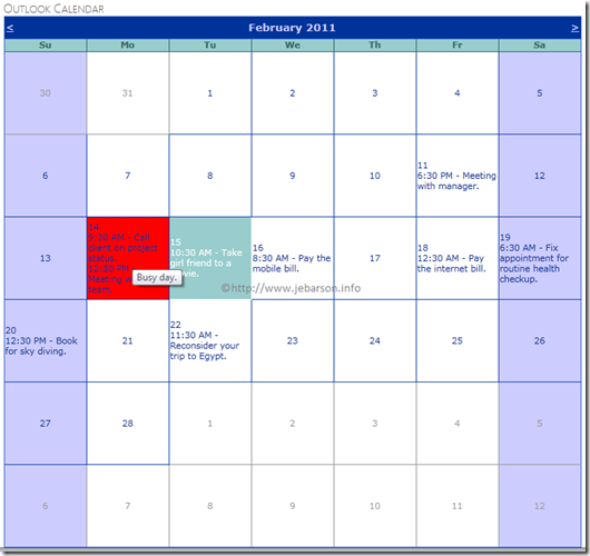 ASP.NET Calendar Control as Outlook Calendar
