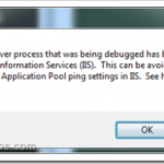 Configuring Pinging in IIS 7.0 / 7.5 to avoid terminating processes while debugging from Visual Studio