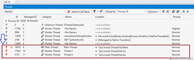 Multithreading debugging window - FlagMyCode Highlighted