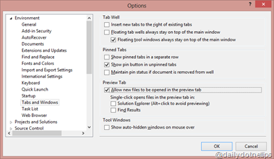 Preview Selected Items - Option Dialogs
