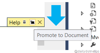 Visual Studio 2013 Tips and Tricks - Peek Help - Promote to Document
