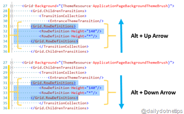 Moving XAML Code Block UP and Down