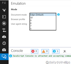 Emulation Mode in IE 11 Document Mode Selection