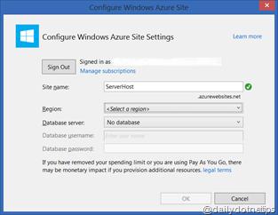 Configure Azure Web Site