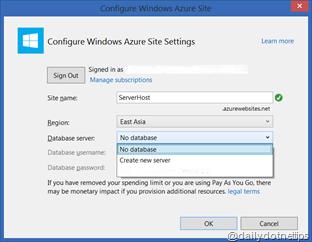 Configure Azure Web Site - Select Options