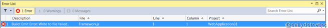 Emit Error: Write to file failed