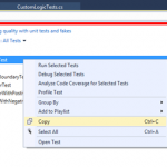 How to copy and share the execution details of Unit Test methods from the Test Explorer in Visual Studio ?