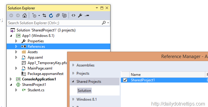 Using Shared Project in a Console Application