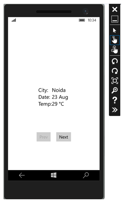 Windows Phone app is running