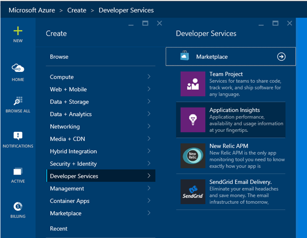 Creating New Application Insights Services in Azure Portal