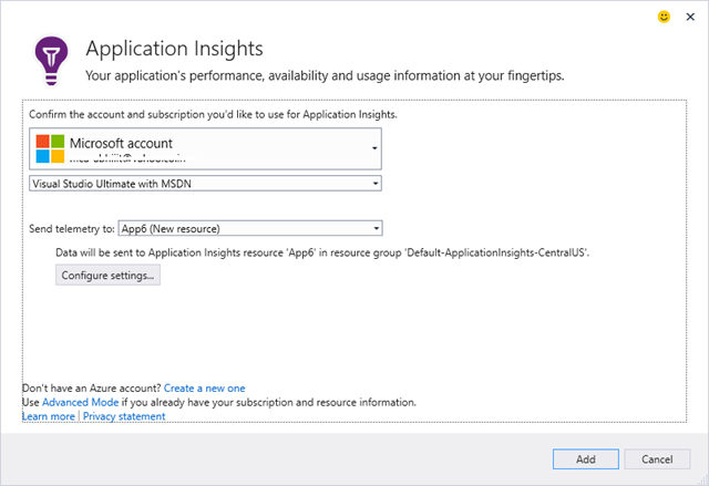 Adding or Configuring Application Insight from Solution Explorer