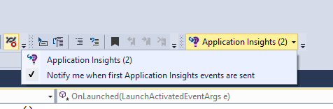 Application Insights  Toolbar  with  telemetry events count