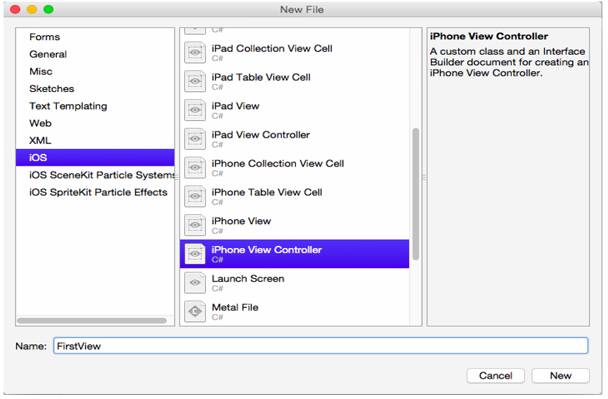 Adding IPhone View Controller