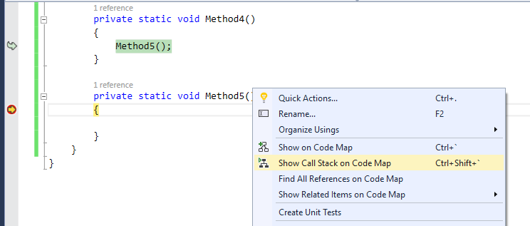 Show Call Stack on Code Map During Debugging