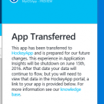 Transfer your existing Application Insights Mobile Apps to HockeyApp