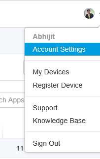 Account Settings Selection