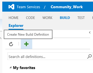 Create New Build Definition