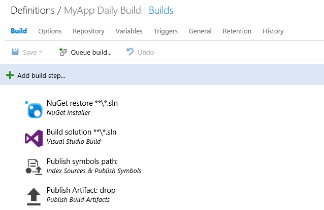 Build Steps for New Build Definition