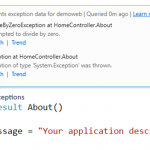 Using CodeLens to display the Application Insights Exception Telemetry in Visual Studio